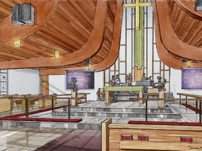 Interior Design church rendering hand-drawn