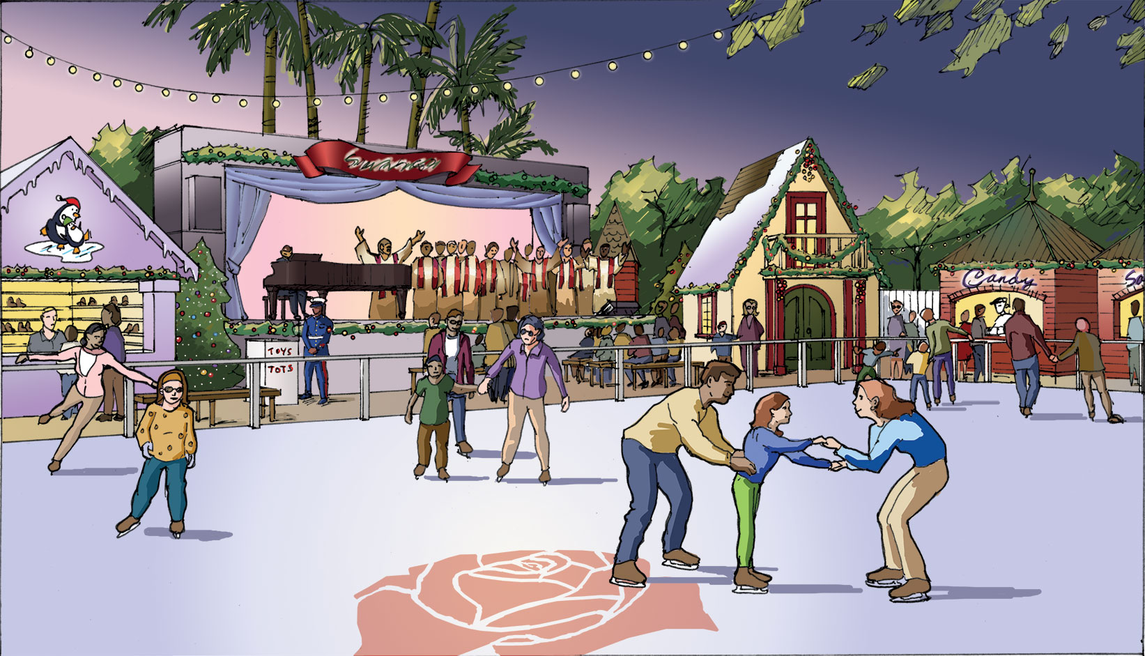 Concept Illustration for outdoor skating rink. Client: Kenneth McPheeters.