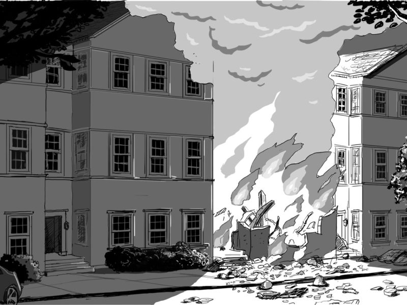 Concept Illustration for production design. Building explosion. Client: Kevin Harvilla.