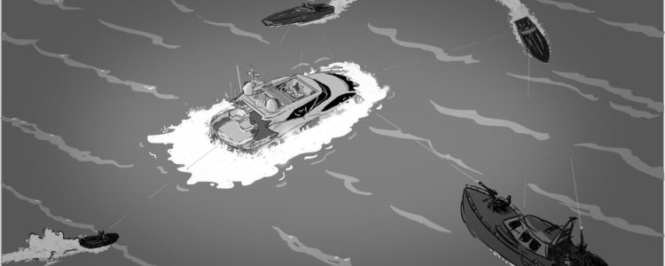 Concept Illustration for production design. Sea battle. Client: Kevin Harvilla.