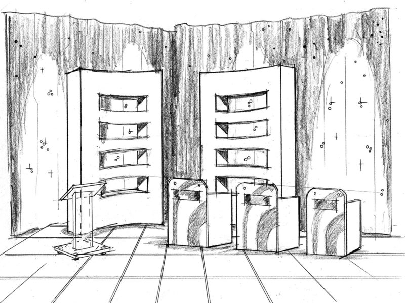 Concept Illustration for commercial set design. Game Show theme. Client: Neil Wyzanowski. hand-drawn