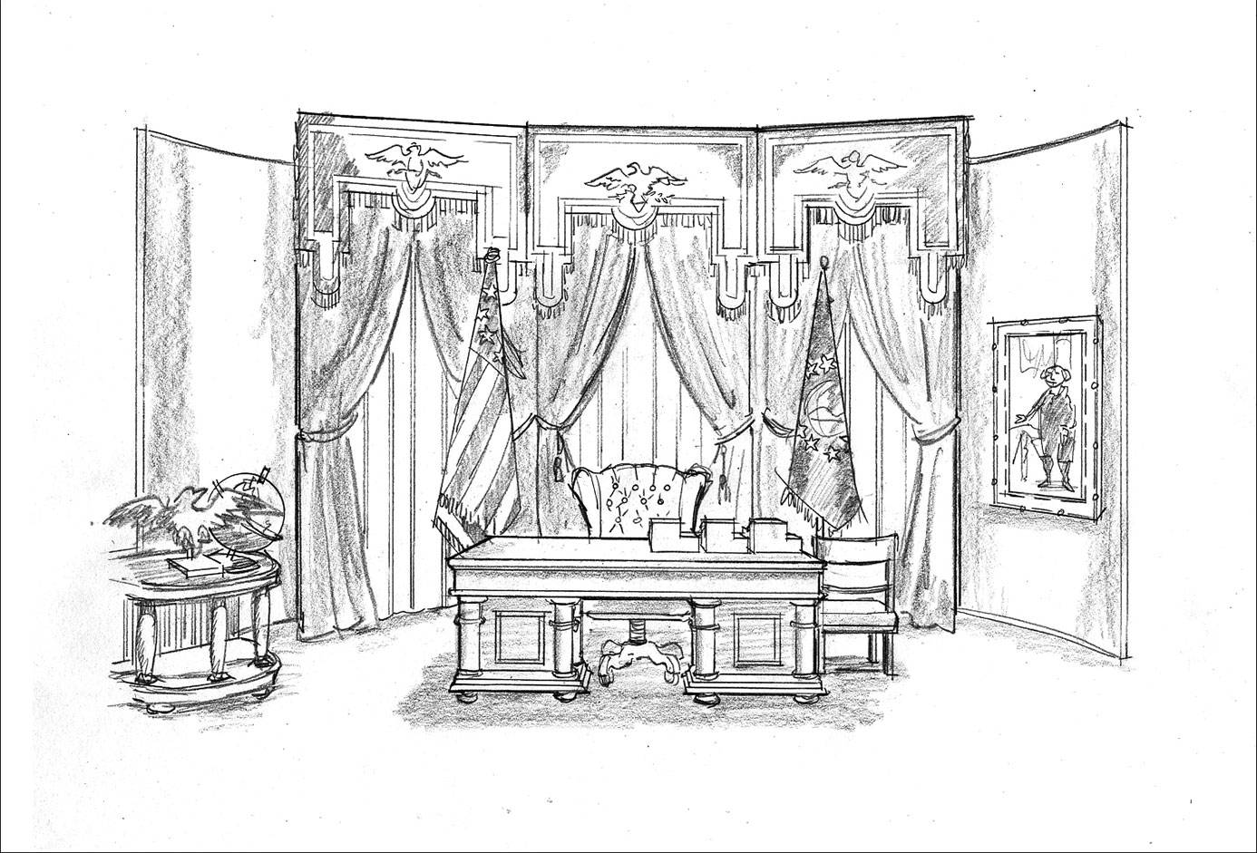Concept Illustration for commercial set design. Oval Office theme. Client: Neil Wyzanowski. hand-drawn
