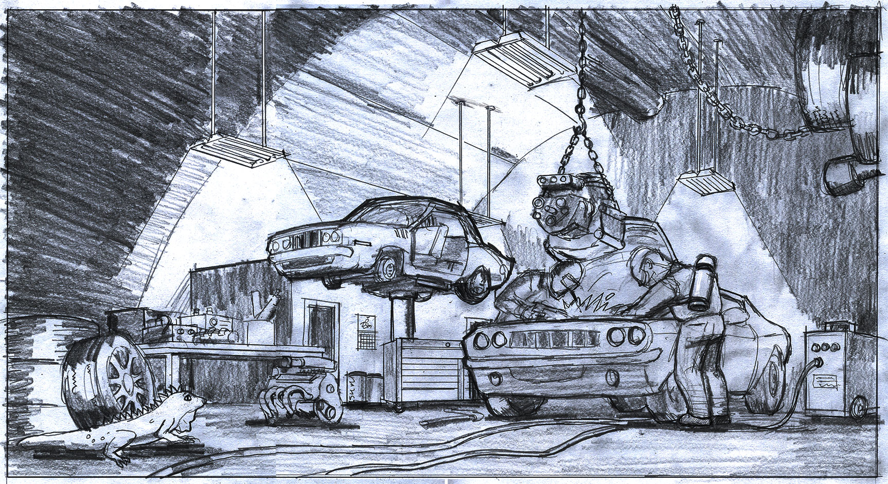 Concept Illustration. Garage Center. hand-drawn production art