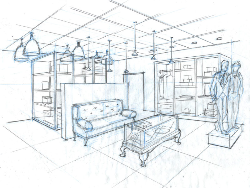 Concept Illustration for Tradeshow. Client: DNA. Store lighting display. hand-drawn sketch