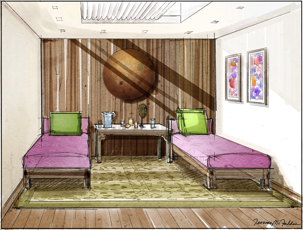 Interior design presentation rendering. Client: The Baylon Hospitality Group. Kinara Spa Treatment Waiting hand-drawn marker art