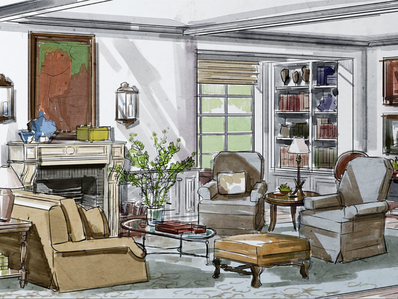 Hand Drawn Renderings For Interior Landscape Architectural Designers