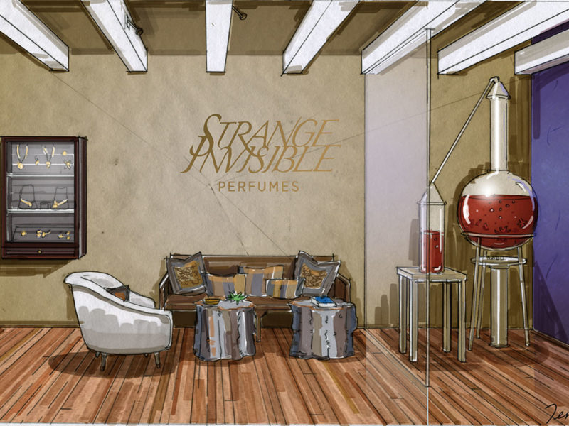 Rendering. Client: Mark Rose Interiors. Retail Remodel, Strange Invisible Perfumes hand-drawn marker art