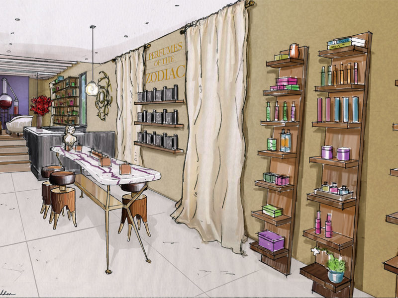 Rendering. Client: Mark Rose Interiors. Retail Remodel, Strange Invisible Perfumes.