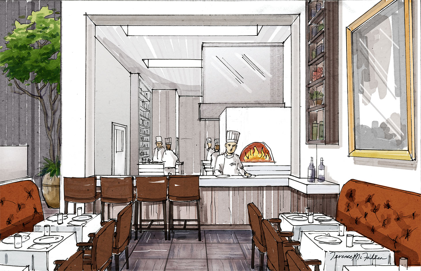 Rendering. Client: The Baylon Hospitality Group. Restaurant Interior. hand-drawn marker art