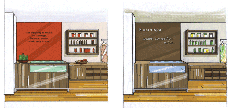 Rendering for Kirana Spa 3. Two options for sales counter. Client: Carolyn Baylon Designs