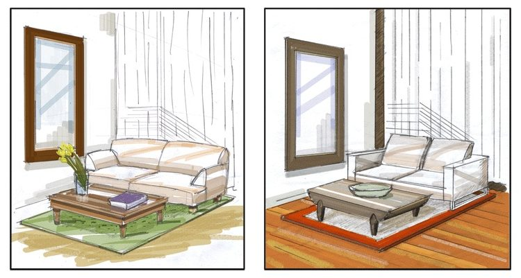 Rendering for Kirana Spa 4. Two options for spa waiting area. Client: Carolyn Baylon Designs