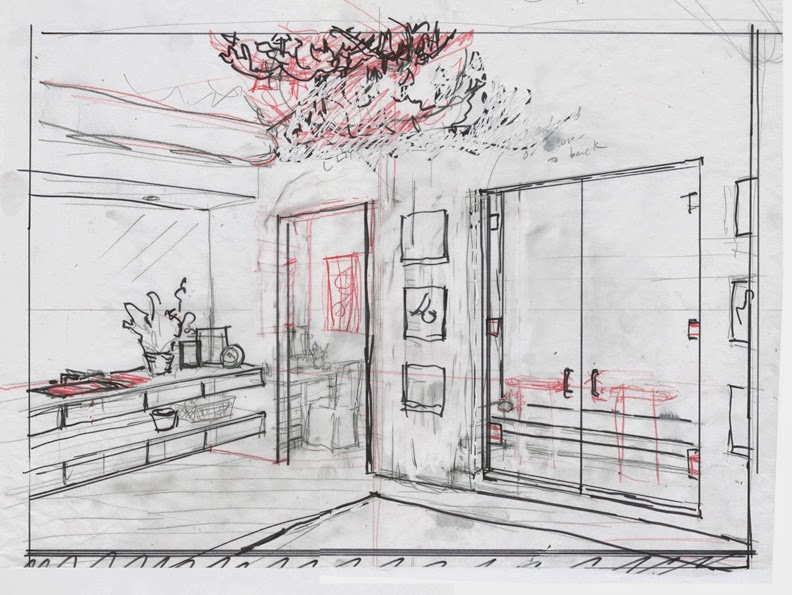 hand-drawn interior design preliminary sketch residential bathroom